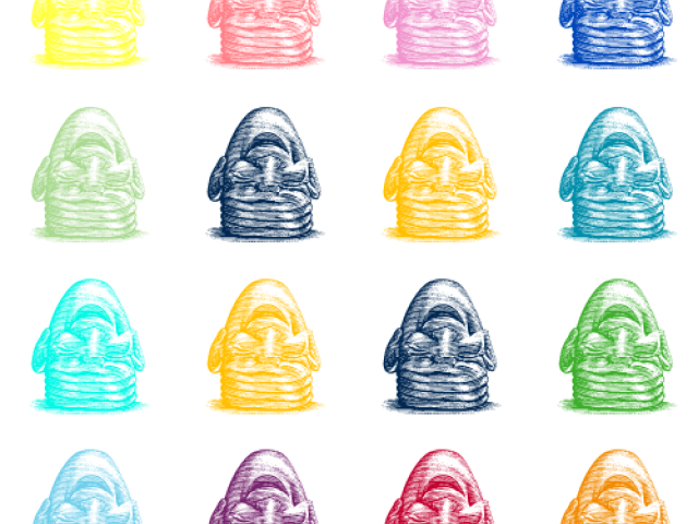 fatal laugh eggheads in grid with different brand colors