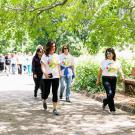 uc davis staff walking on path
